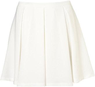 Topshop Cream Textured Pleated Skirt