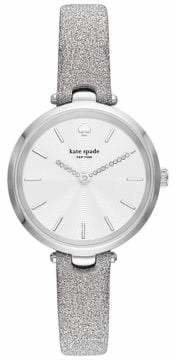 Kate Spade Holland Three-Hand Silver Fabric Watch