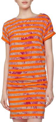 Nicole Miller Short-Sleeve Tie-Dye Stripe Knit Dress, Neon Orange