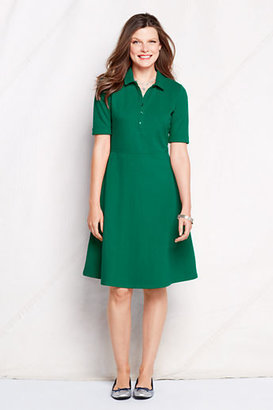 Lands' End Women's Tall Elbow Sleeve Fit and Flare Polo Dress
