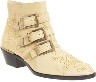 Chloé Studded Ankle Boot- Ivory