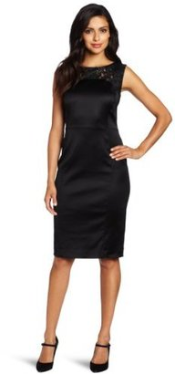 Magaschoni Women's Satin Dress With Lace