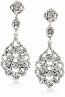 Nina 'Eiffel' Antique Silver-Plated Drop Earrings