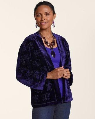 Chico's Velvet Kimono Burnout Jacket