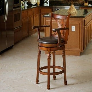 Christopher Knight Home Eclipse 30-inch Brown Armed Swivel Barstool