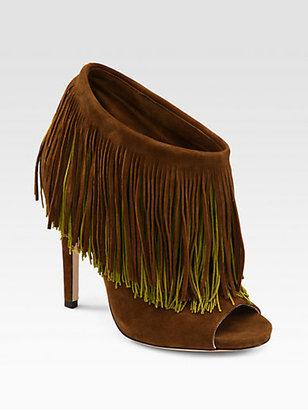 Jimmy Choo Damita Suede & Silk Fringe Platform Ankle Boots