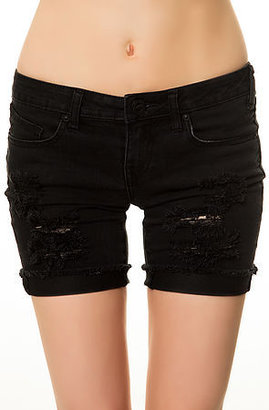 Volcom The Savage Skinny Bermuda Shorts in Worn Black