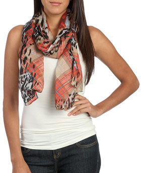 Wet Seal WetSeal Plaid Leopard Scarf Red