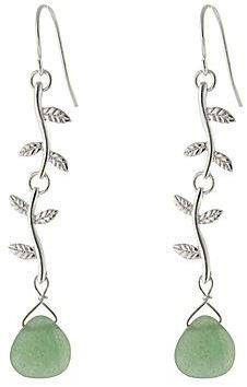 JCPenney Pure Silver-Plated Green Aventurine Vine Drop Earrings