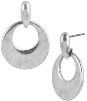 Kenneth Cole NEW YORK Silver-Tone Sculptural Circle Drop Earrings