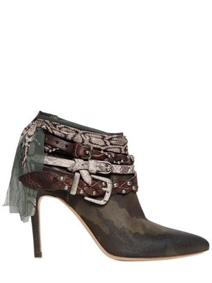 100mm Camouflage Leather Ankle Boots