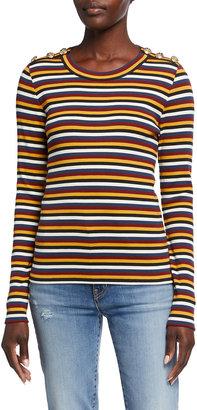Veronica Beard Jeans Mayer Striped Long-Sleeve Top
