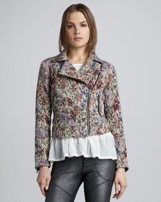 Free People Tapestry Motorcycle Jacket