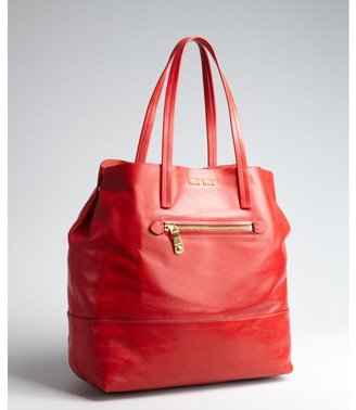 Miu Miu Miu red leather large tote
