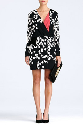 Diane von Furstenberg Magnolia Dress In Square Falls Black