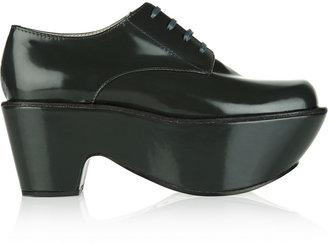 Jil Sander Navy Patent-leather platform brogues