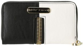 Betsey Johnson On The FlipSide Zip Around Wallet (Black/White) - Bags and Luggage