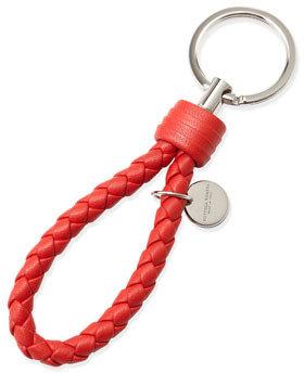 Bottega Veneta Braided Loop Key Ring, New Bright Red