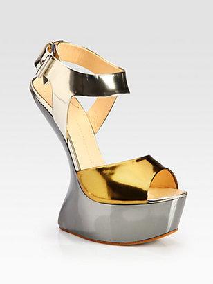 Giuseppe Zanotti Metallic Patent Leather Curved-Wedge Sandals