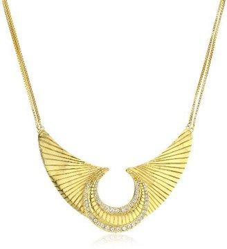 "Swarovski LYRALOVESTAR by crystal streets ""Egyptian Nights"" Cleopatra 24k Gold Plated Etched Moon Crystal Necklace"