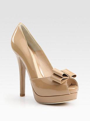 Fendi Deco Patent Leather Peep Toe Bow Pumps