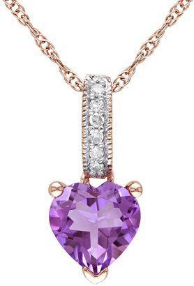 Stella Grace Amethyst and Diamond Accent 10k Rose Gold Heart Pendant Necklace