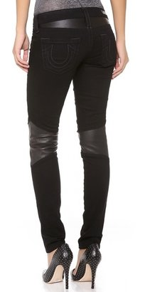 True Religion Super Skinny Moto Pants with Leather Trim