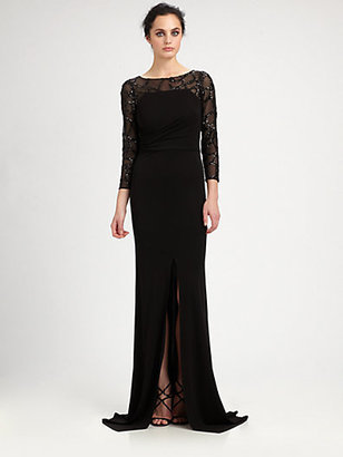 David Meister Sequined Paneled Gown