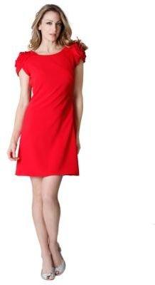 JS Collections Red Flower Shoulder Dress