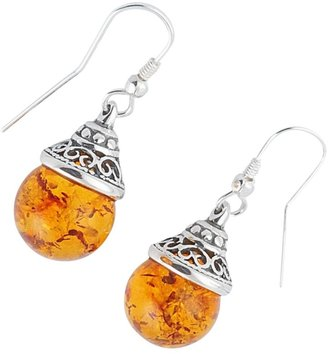 Be-Jewelled Sterling Silver Amber Ball Drop Earrings, Orange