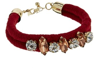 Warehouse Jewel Plaited Cord Friendship Bracelet