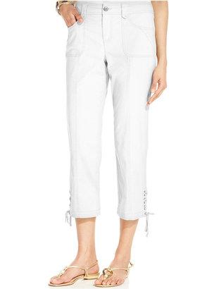 Style&Co. Tummy-Control Lace-Up Capri Pants