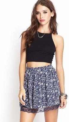 Forever 21 Lace-Trimmed Floral Skirt
