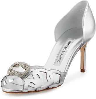Manolo Blahnik Charmed Crystal-Buckle Cutout Pump, Silver