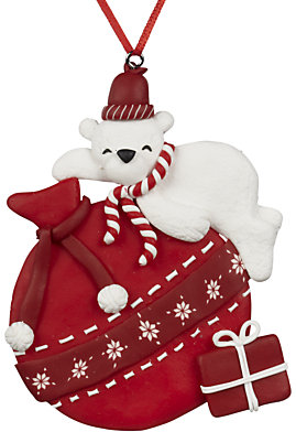 John Lewis Polar Bear on Red Parcel Bauble