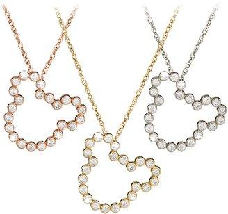 Disney Diamond Mickey Mouse Silhouette Necklace 14K
