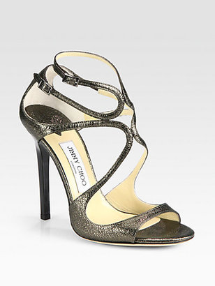 Jimmy Choo Lance Metallic Leather Sandals