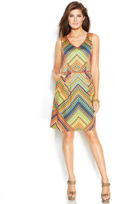 Ellen Tracy Printed Cotton-Blend Cutout Dress