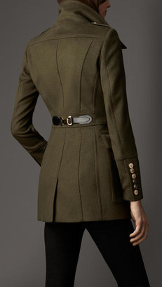 Burberry Buckle Detail Wool Cashmere Coat