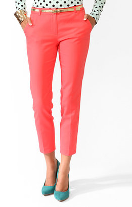 Forever 21 Cropped Perma-Creased Trousers w/ Belt