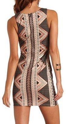 Charlotte Russe Zip-Back Foiled Deco Dress