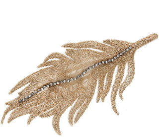 Colette Malouf Embroidered Silk Feather Snap Clip, Gold 1 ea