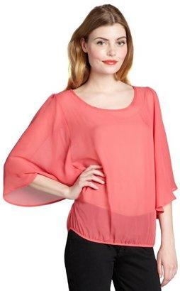 Pure & Simple grapefruit chiffon flutter sleeve 'Talicia' top