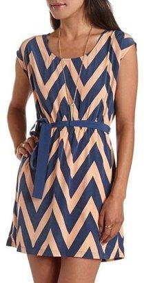 Charlotte Russe Belted Chevron Stripe Dress