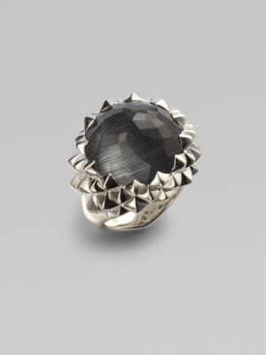Stephen Webster Grey Cat's Eye & Quartz Crystal Sterling Silver Ring