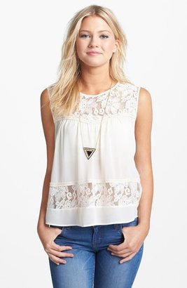 Lush Lace Inset Button Back Top (Juniors) Ivory X-Small