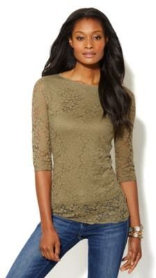 New York & Co. Lace Elbow-Sleeve Top