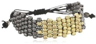 "Kenneth Cole New York ""Metal Boost"" Gold and Hematite Mesh Bead Friendship Bracelet, 7.5"""
