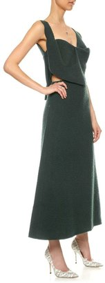 J.W.Anderson Green Textured Wool Long Skirt