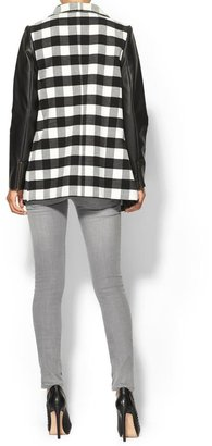 Rachel Zoe Hive & Honey Plaid Vegan Leather Sleeve Coat